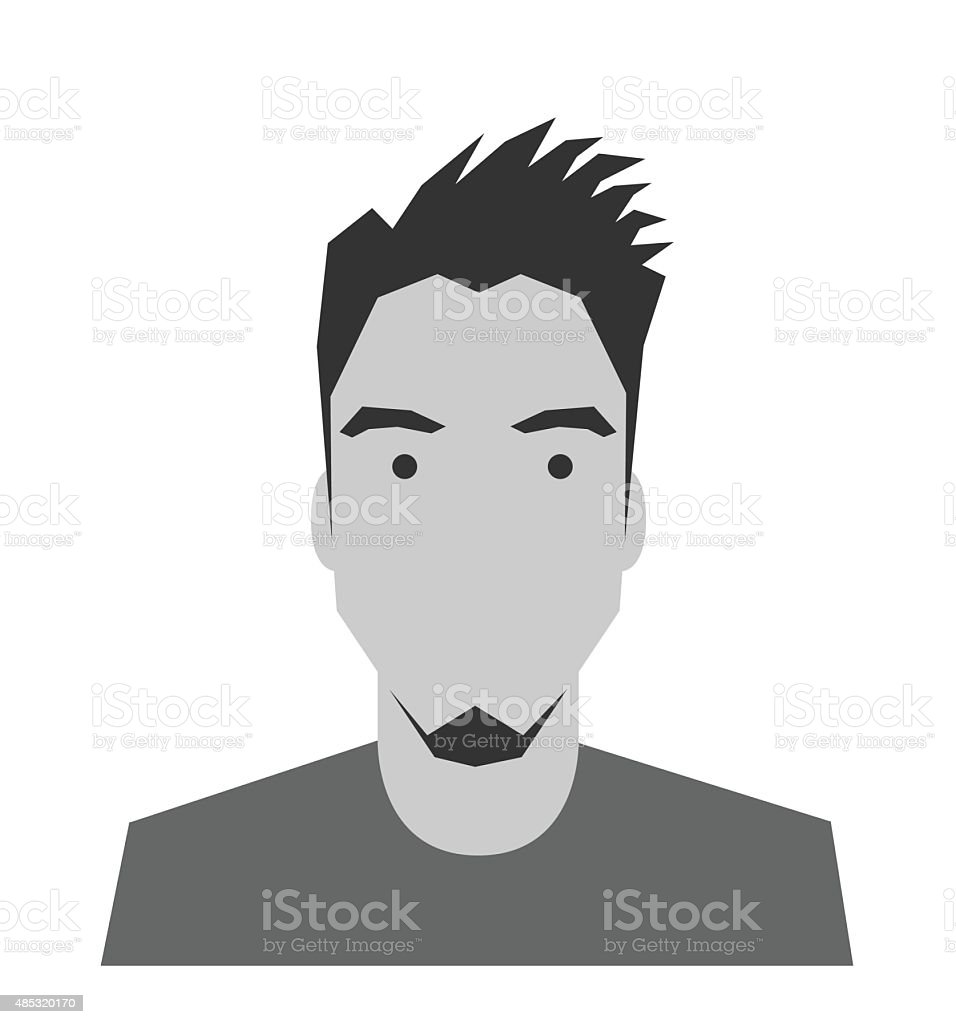 Black and white male profile picture front view vector art illustration