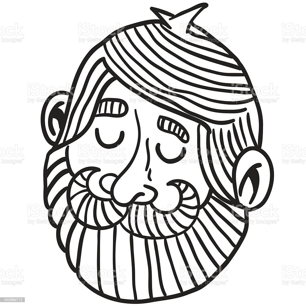 black and white man with beard vector art illustration