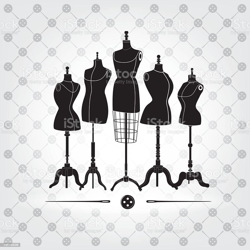black and white mannequins vector art illustration