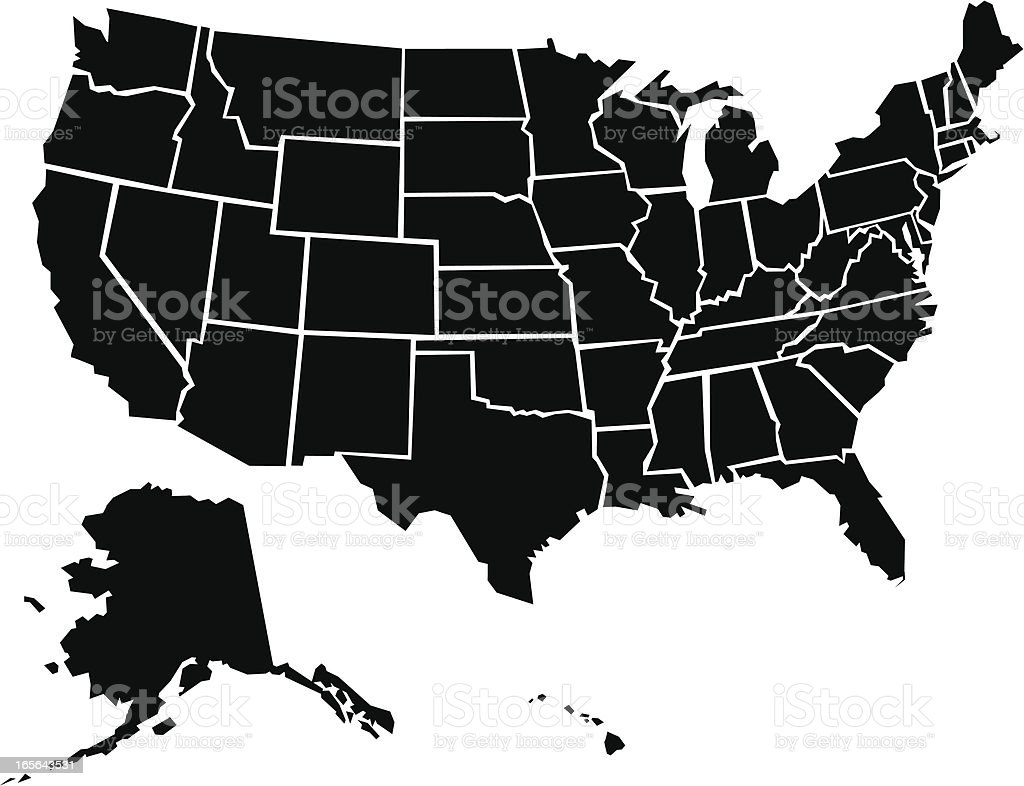 Black and white map of the United States royalty-free stock vector art