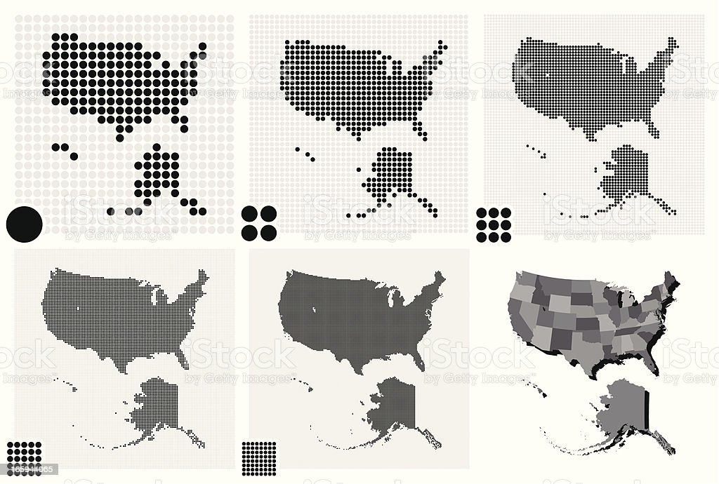 Black and white maps of The United States royalty-free stock vector art