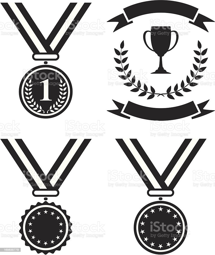 Black and white medals and a trophy vector art illustration