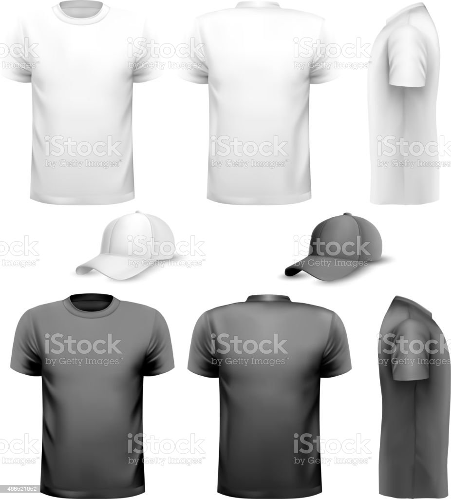 Black and white men t-shirt and cup. Design template. Vector. vector art illustration