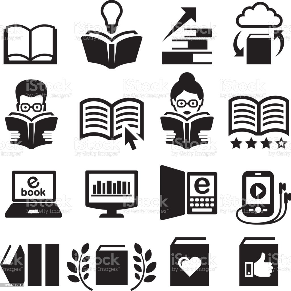 Black and white modern books vector icon set vector art illustration