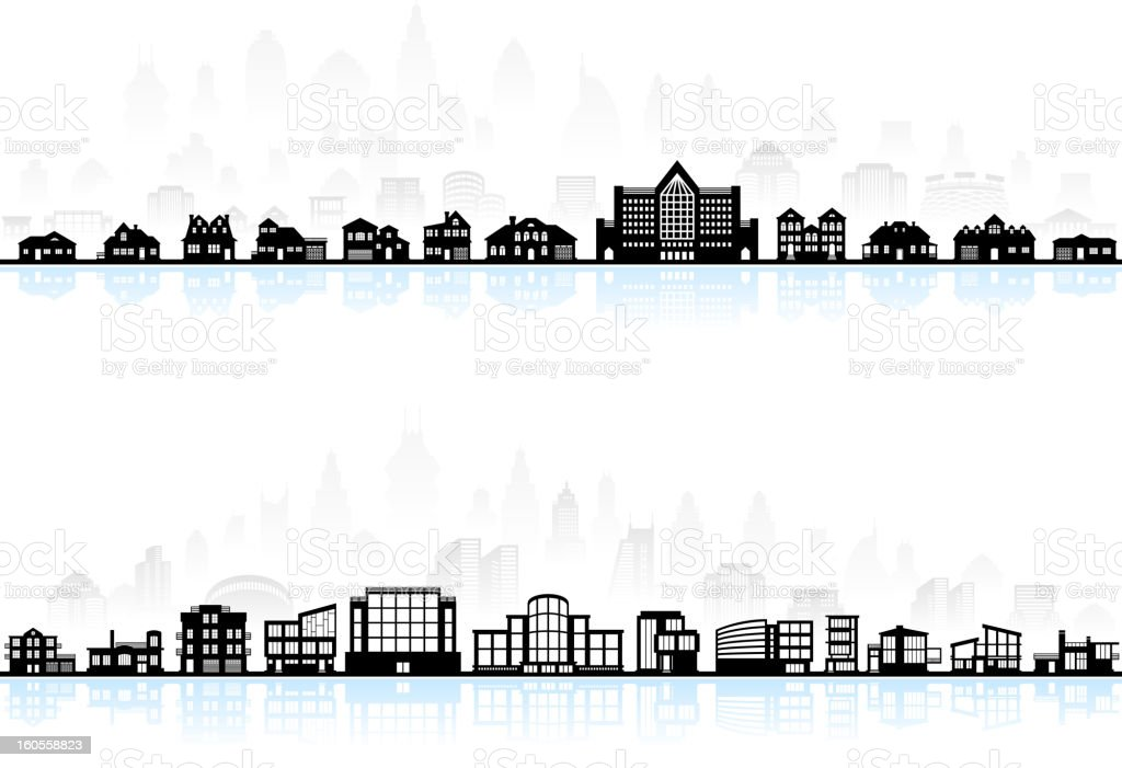 Black and white modern town skyline panoramic with blue shadow vector art illustration