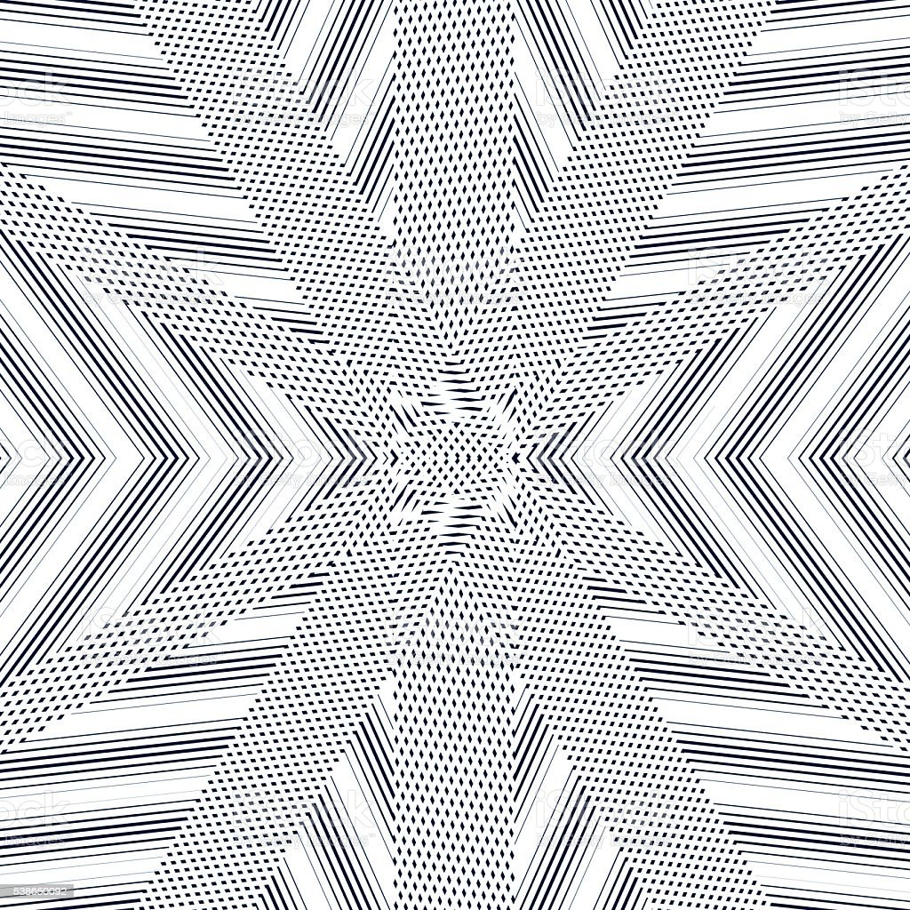 Black and white moire lines, striped  psychedelic background. vector art illustration