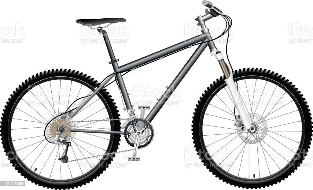Black and white mountain bike against white background vector art illustration
