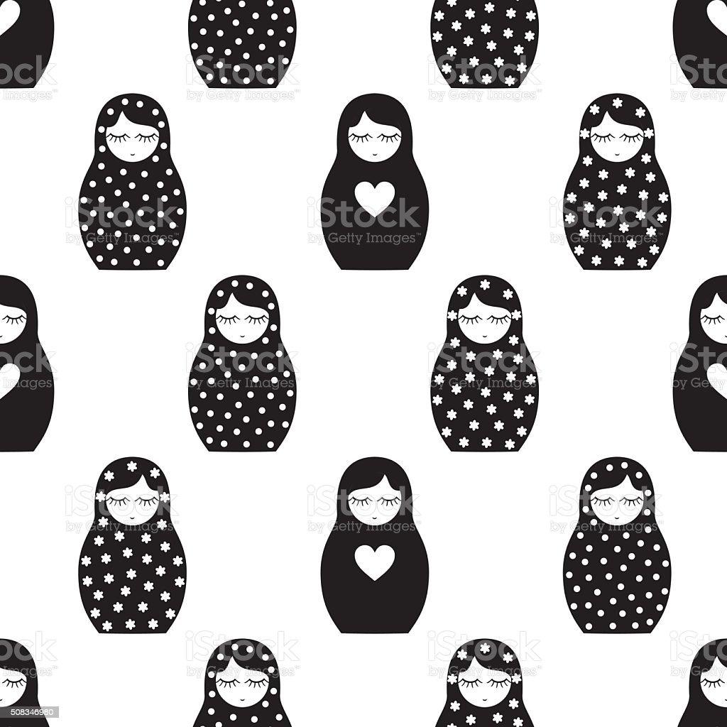 Black and white nested doll Matrioshka illustration. vector art illustration