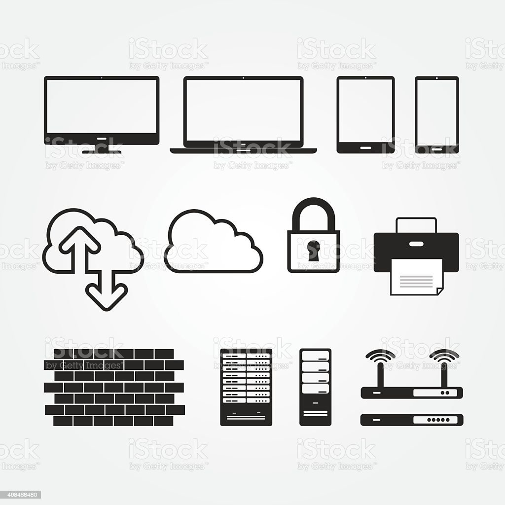 Black and white network and server icons vector art illustration