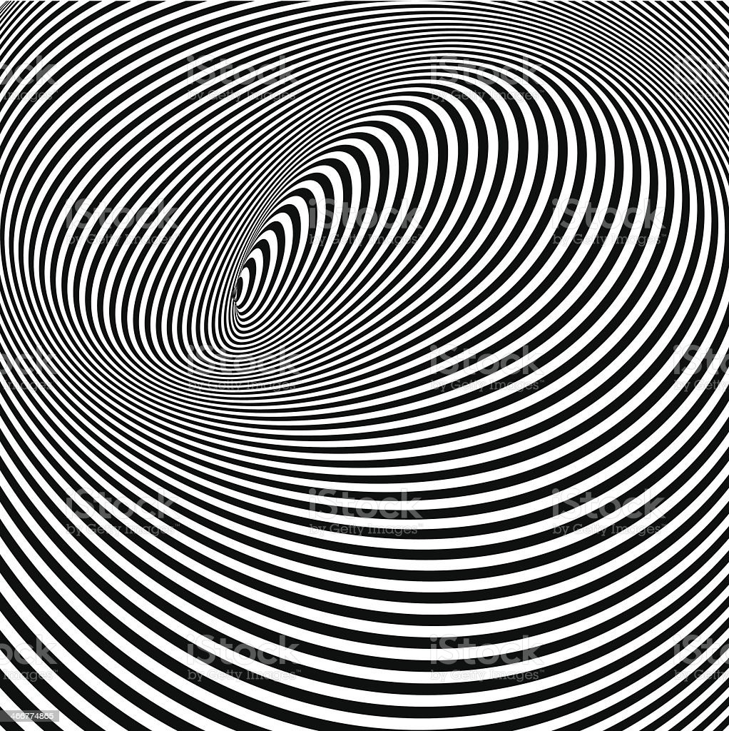 A black and white opt art background in black and white vector art illustration