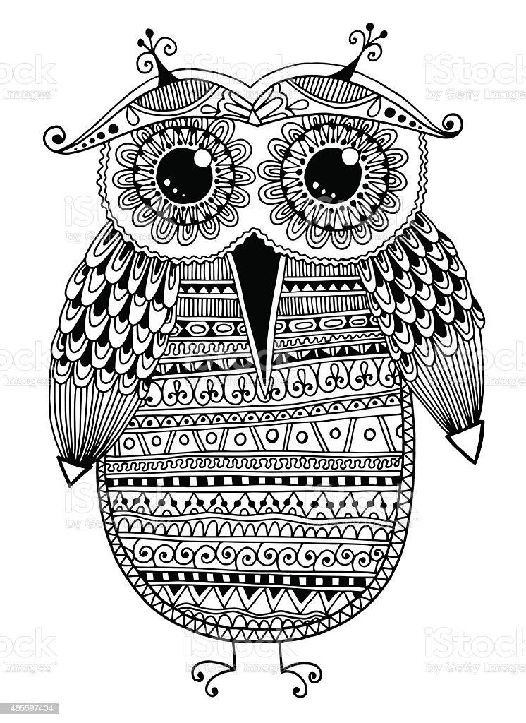 black and white original ethnic owl ink drawing vector art illustration