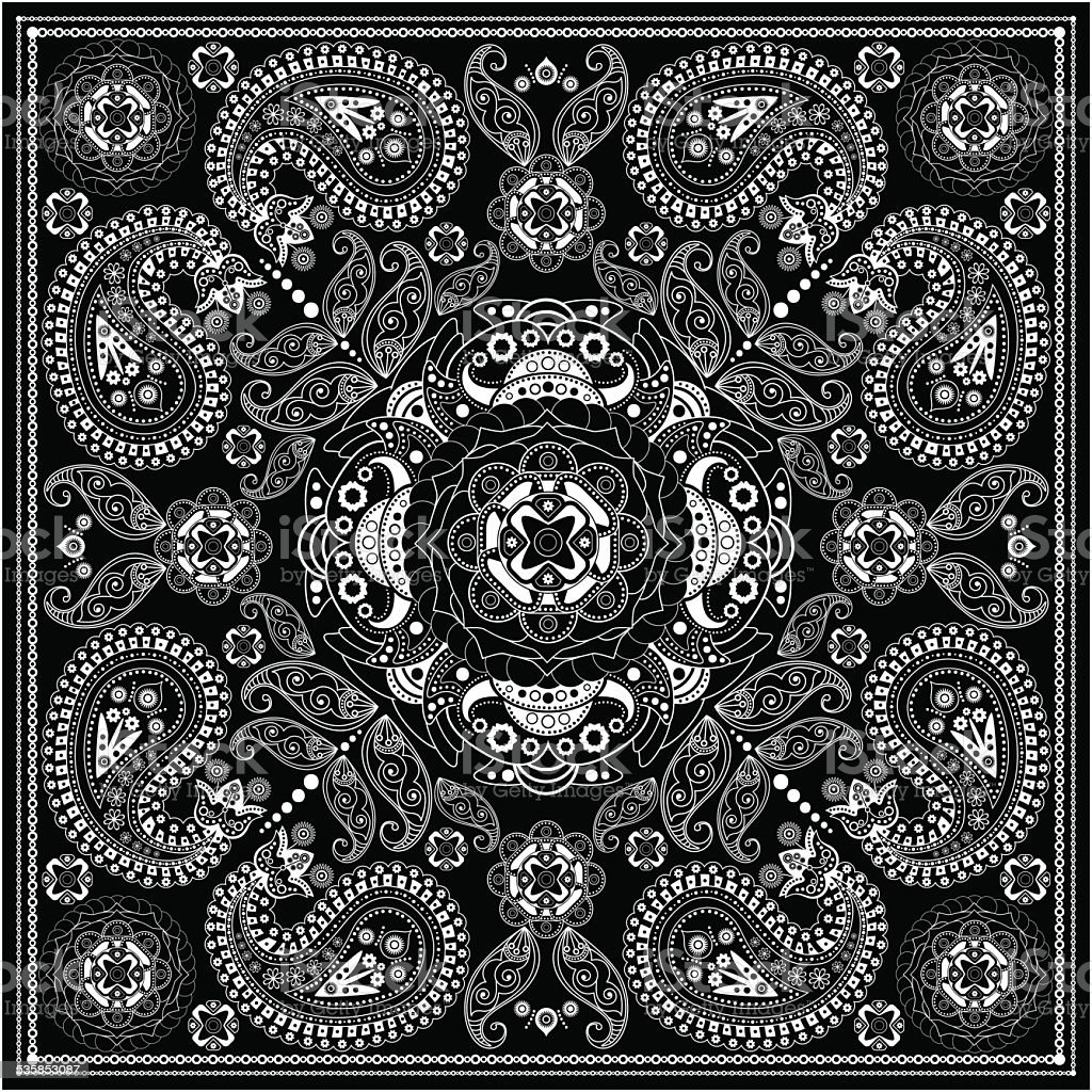 Black and white ornamental square with paisley elements vector art illustration
