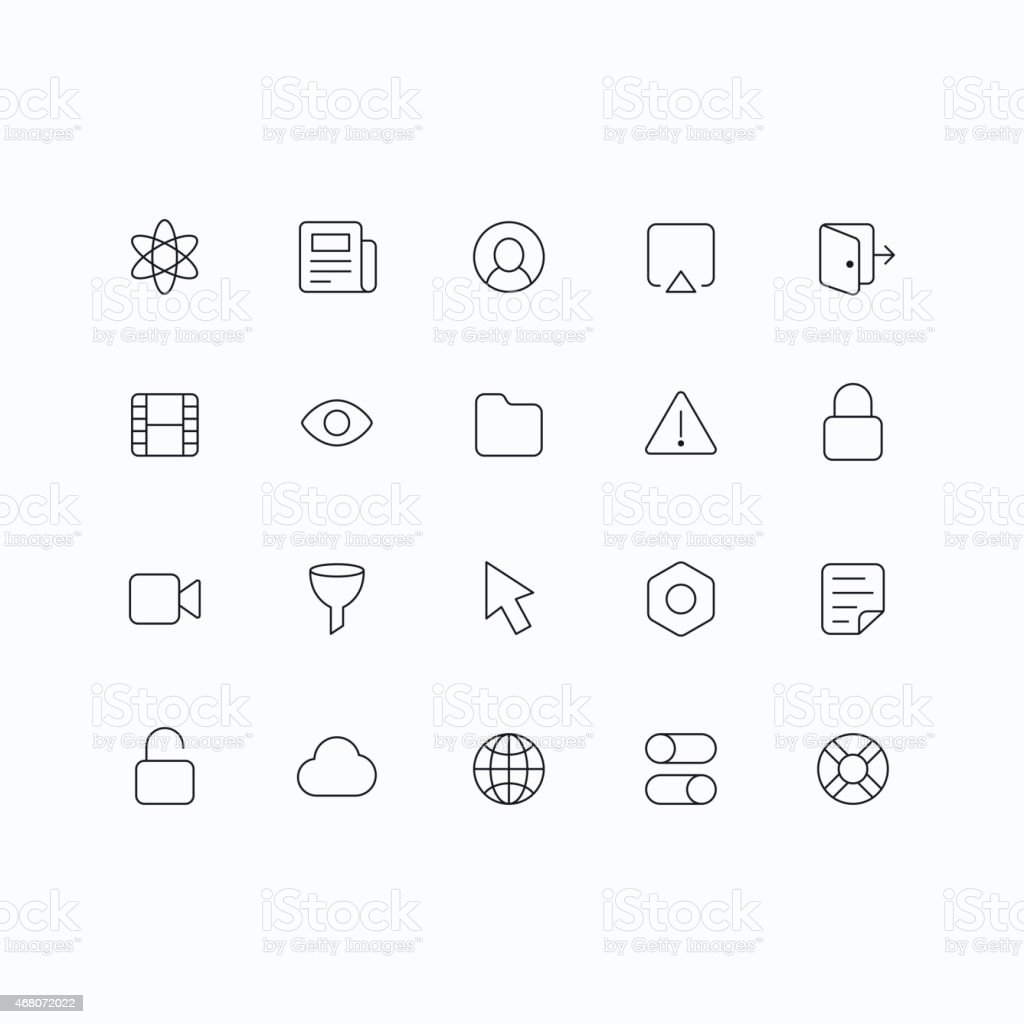 Black and white outline vector icons for web and mobile vector art illustration