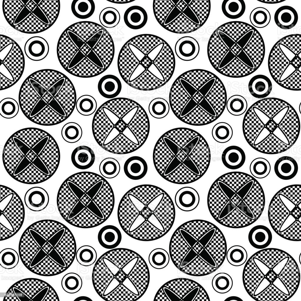 Black and white pattern with circles vector art illustration