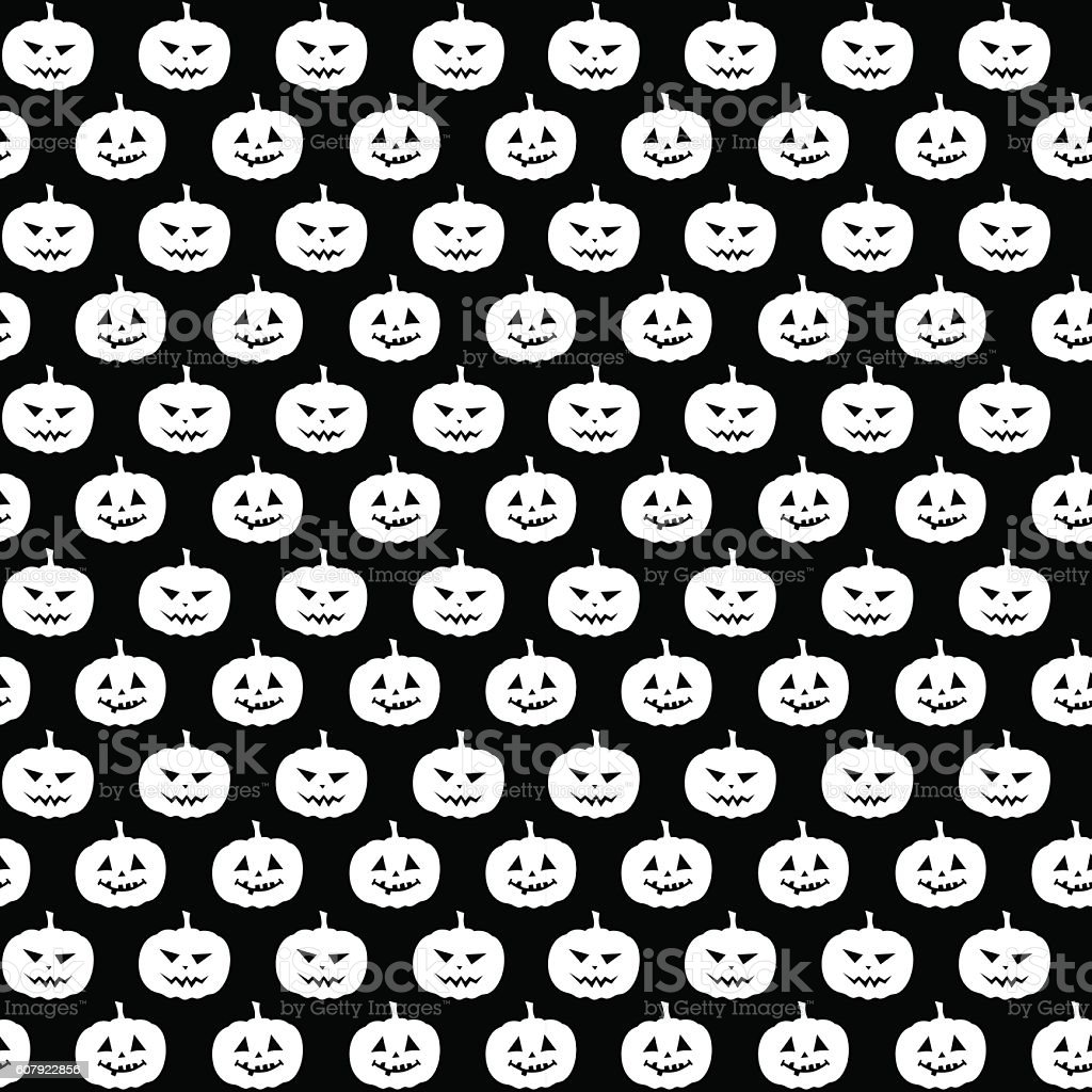 black and white pattern with pumpkins vector art illustration