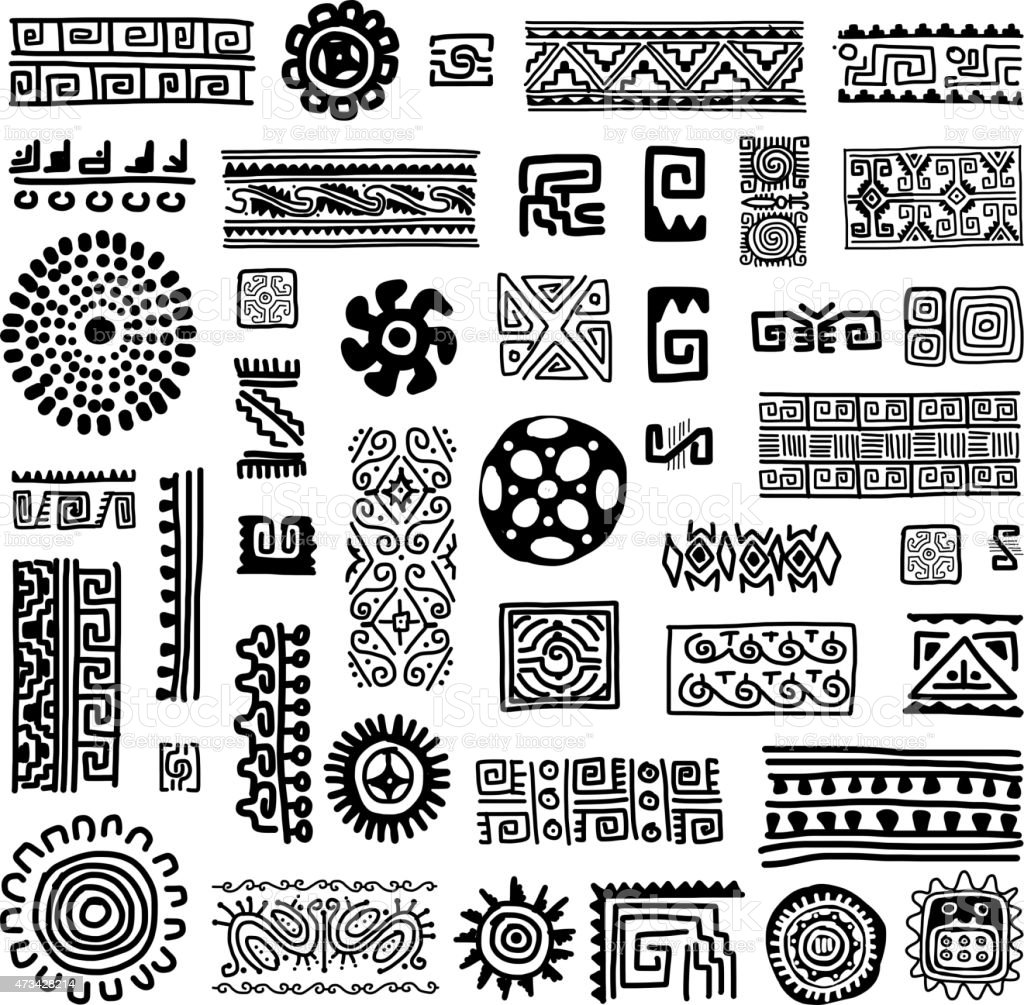 Black and white patterns of traditional ornament vector art illustration