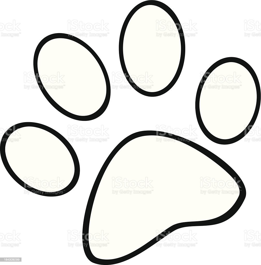 Black and White Paw Print vector art illustration