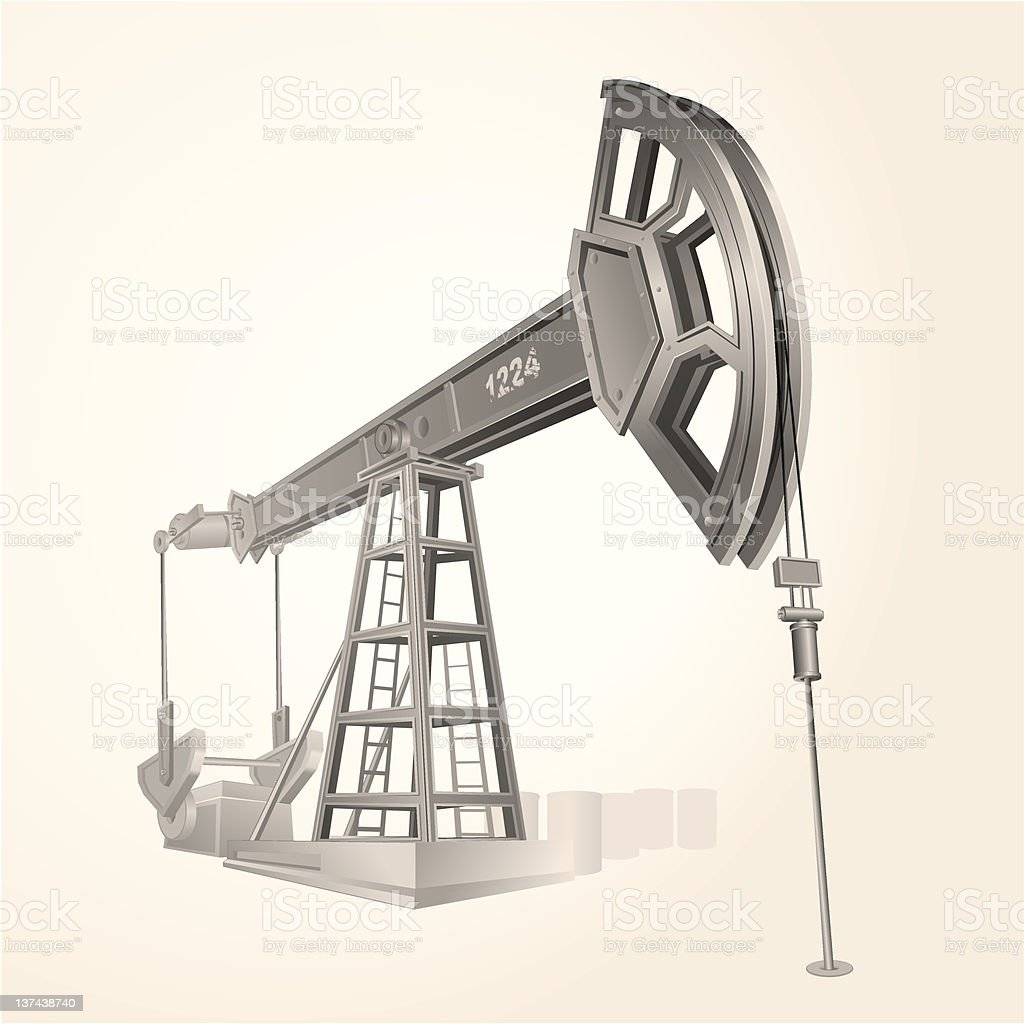 A black and white pencil sketch of a historic oil pump royalty-free stock vector art
