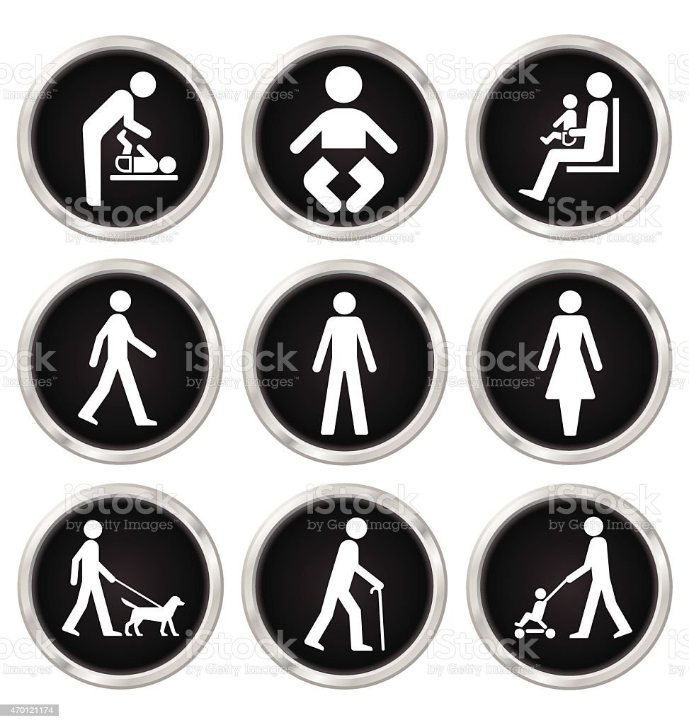 Black and white people computer Icons vector art illustration