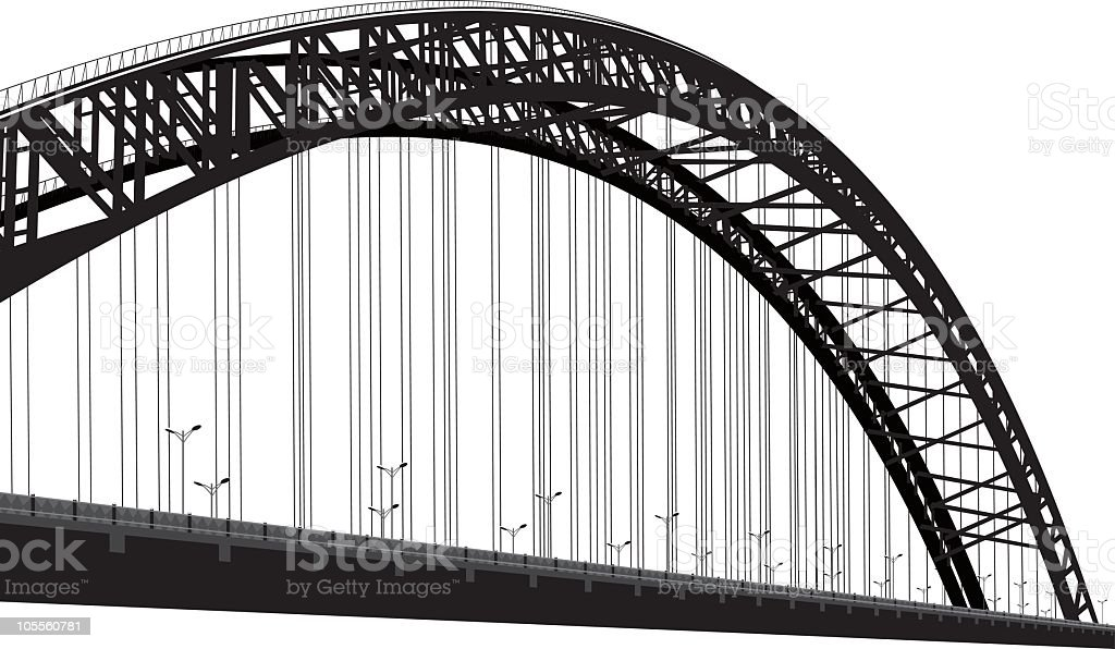 Black and white photo of cable-stayed bridge vector art illustration
