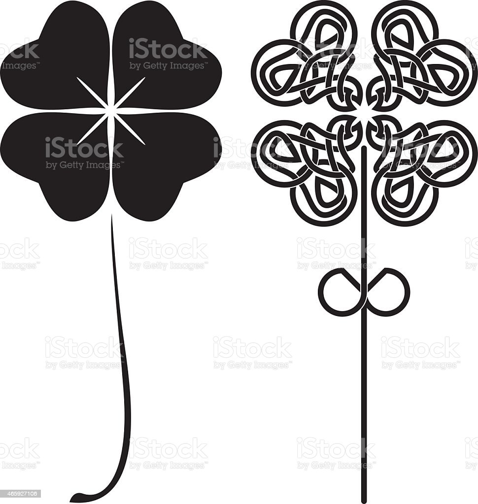 A black and white picture of four leaf clovers vector art illustration