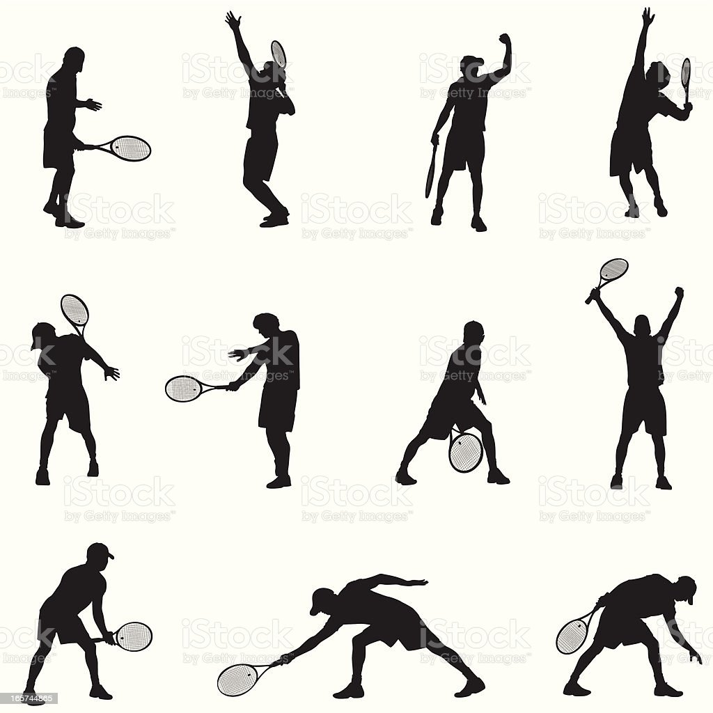 A black and white picture of tennis players vector art illustration