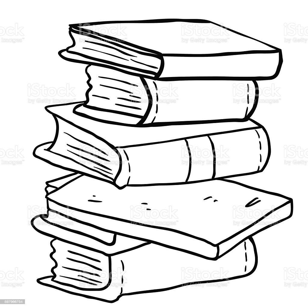 black and white pile of books vector art illustration