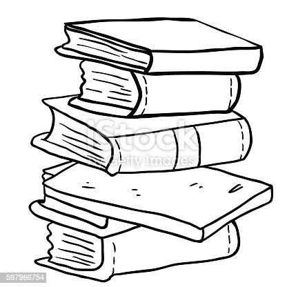 Black And White Pile Of Books stock vector art 597966754