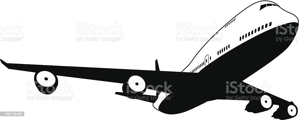 Black and white plane vector art illustration