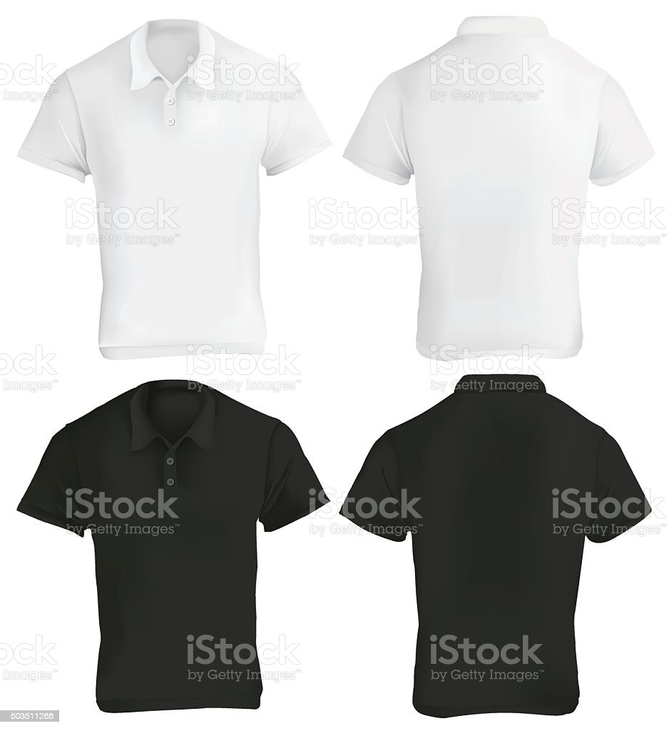 Black and White Polo Shirt Template vector art illustration