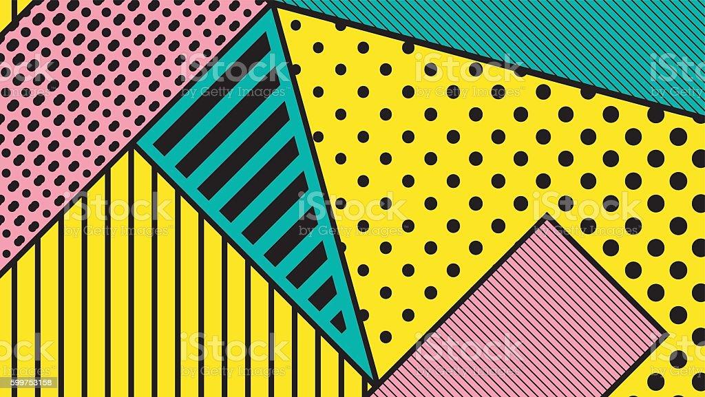black and white pop art geometric pattern vector art illustration