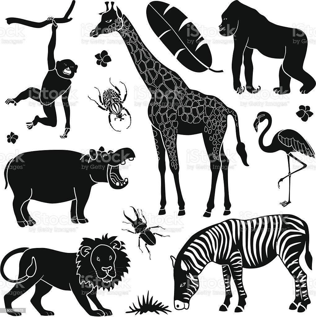 Black and white pop art of African animals vector art illustration