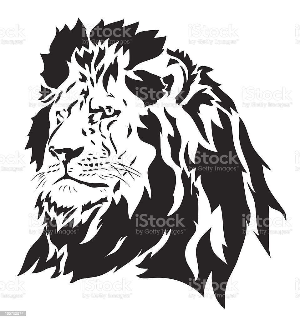 Black and white portrait of a lion vector art illustration