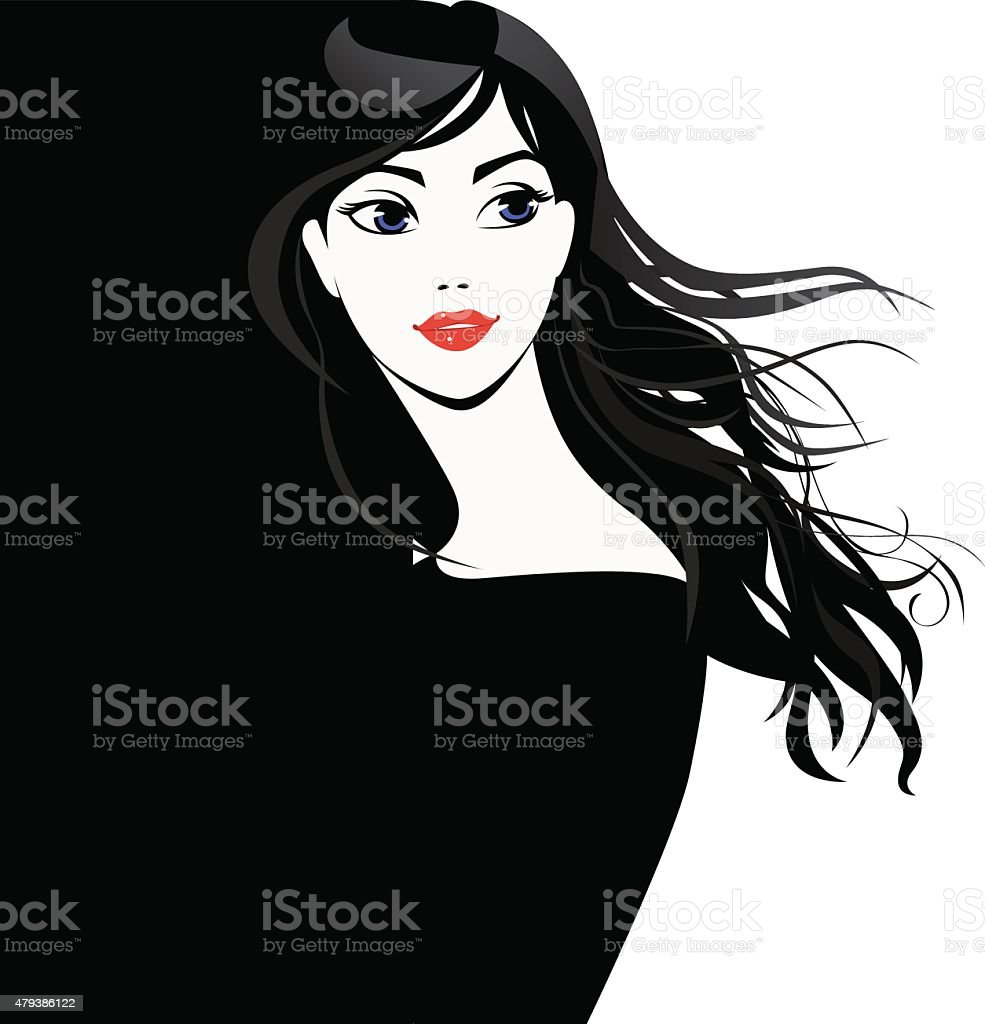 black and white portrait of beautiful girl with long hair vector art illustration