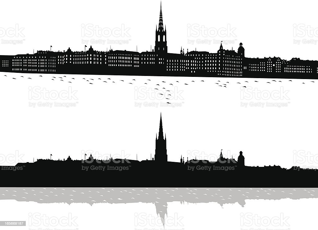 Black and white print of Stockholm royalty-free stock vector art