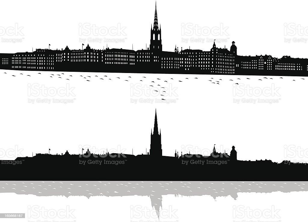 Black and white print of Stockholm vector art illustration