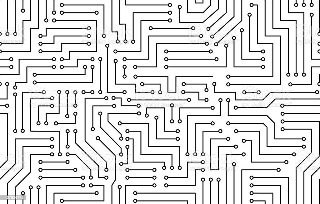 Black and White Printed Circuit Board vector art illustration