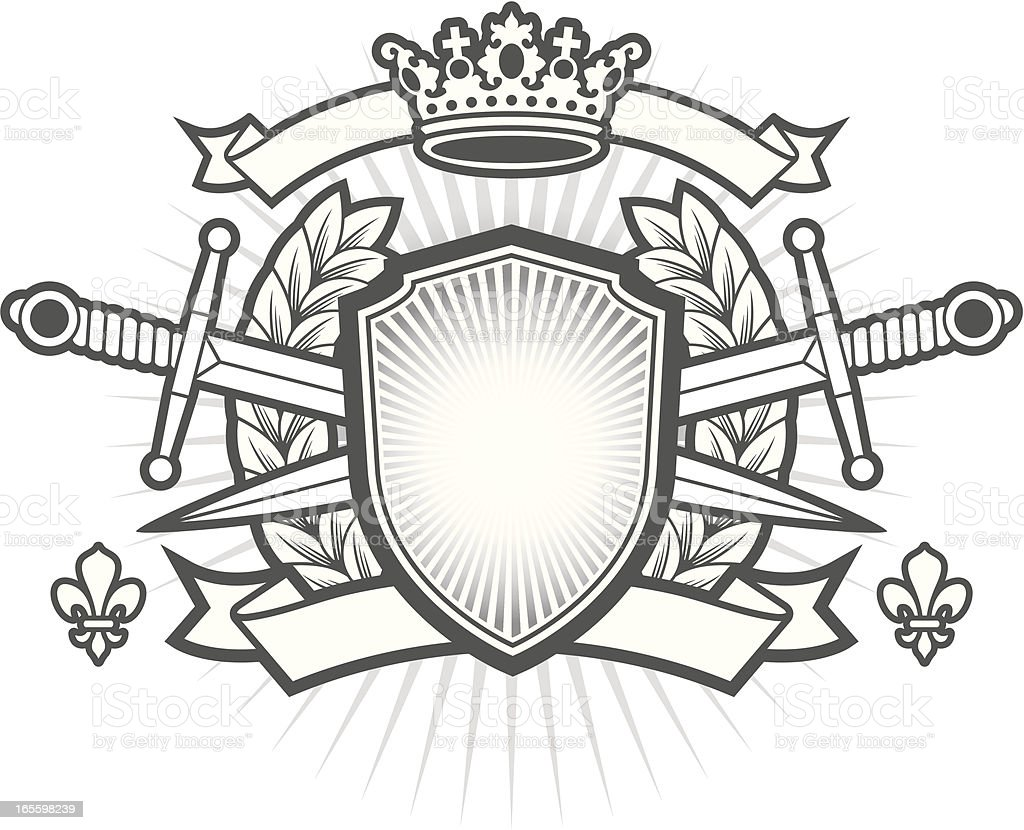Black and white printed image of a Heraldry crest royalty-free stock vector art
