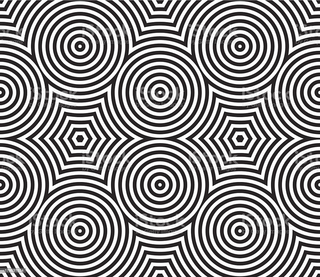 Black and White Psychedelic Circular Textile Pattern. vector art illustration
