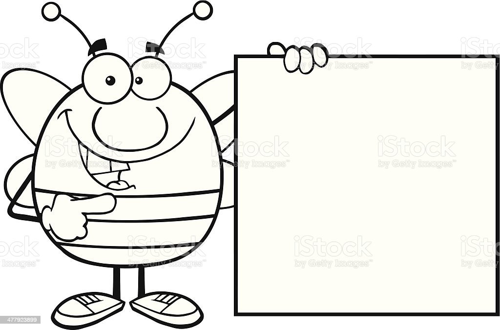 Black and White Pudgy Bee Mascot Showing A Blank Sign royalty-free stock vector art