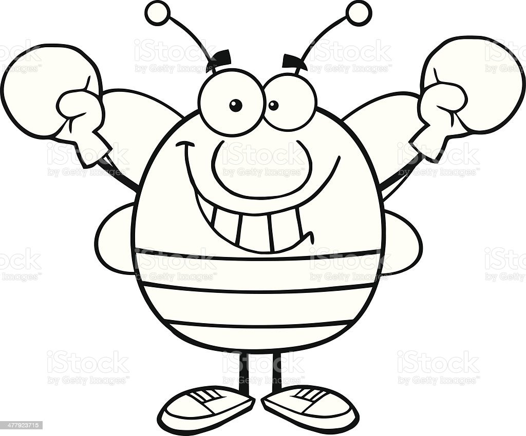 Black and White Pudgy Bee Mascot Wearing Boxing Gloves royalty-free stock vector art