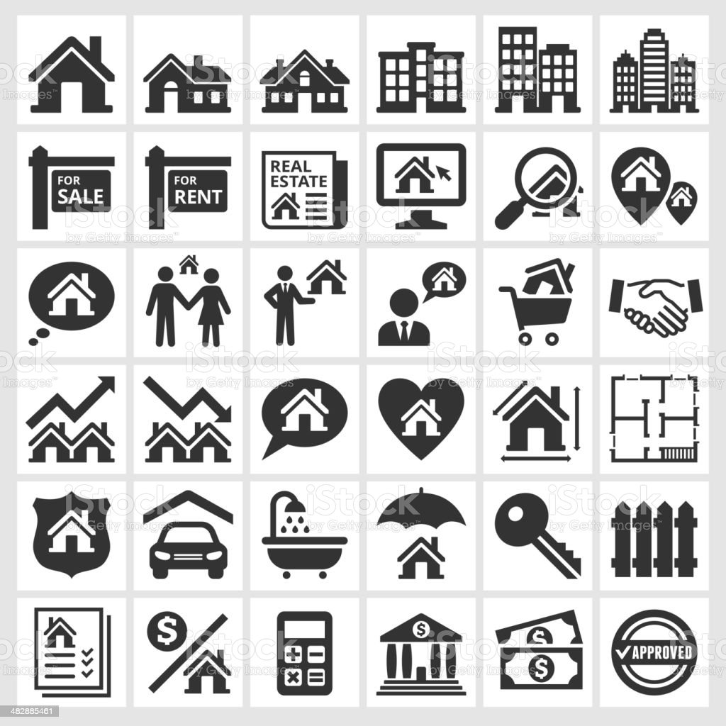 Black and white real estate transaction icons vector art illustration