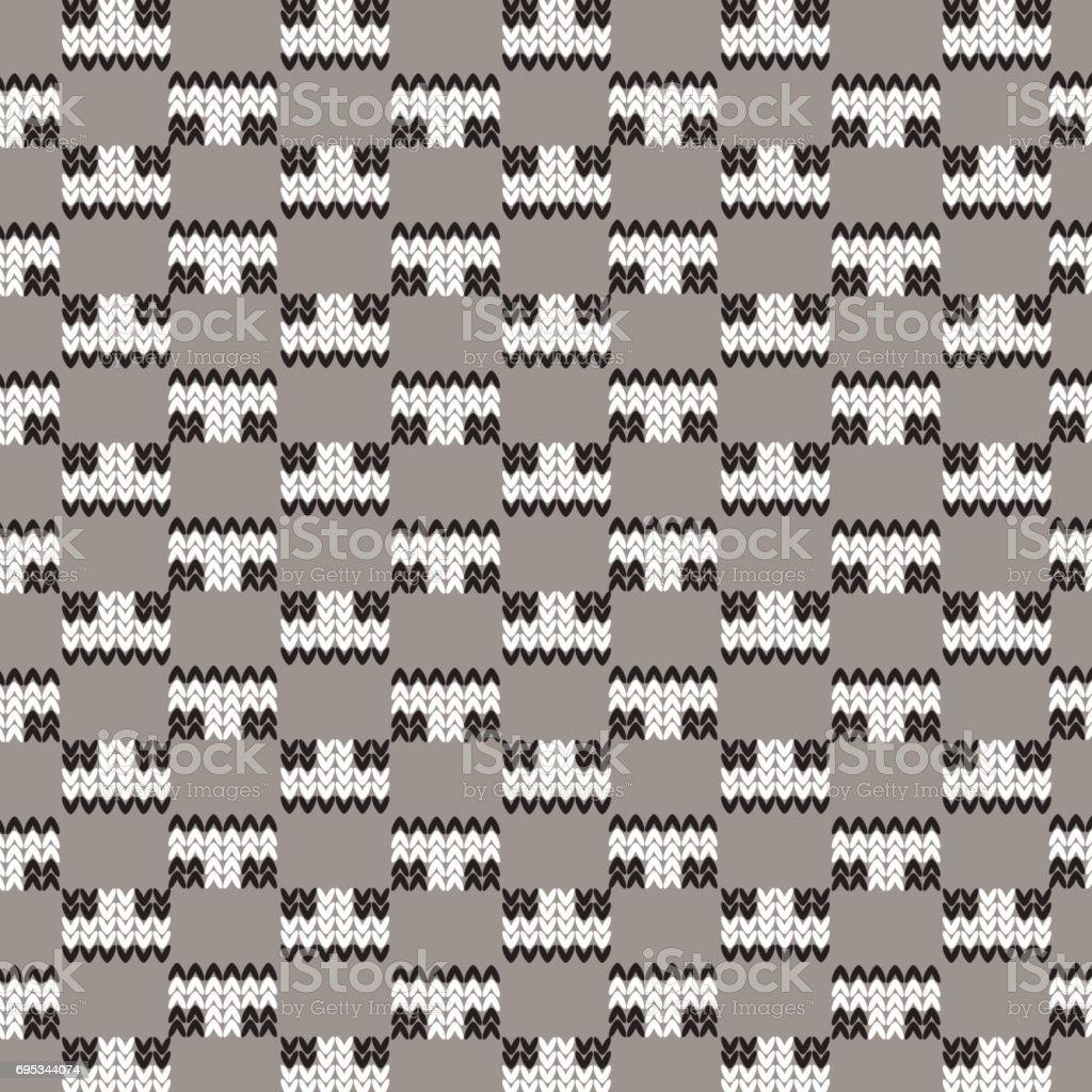 black and white rectangle knitting checkered pattern background vector art illustration