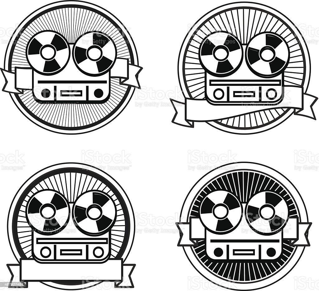 Black and white reel tape recorder stamp vector art illustration