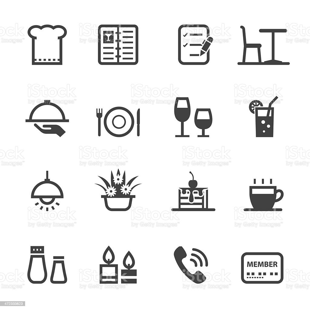 Black and white restaurant icons vector art illustration