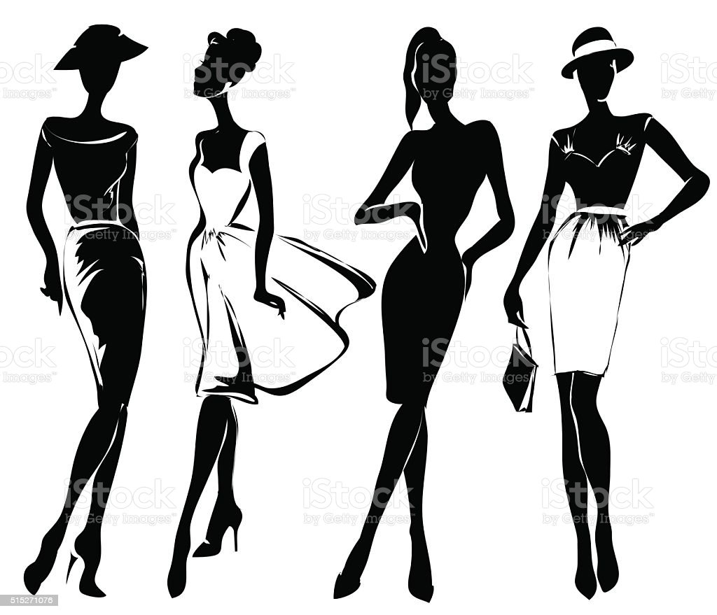 Black and white retro fashion models in sketch style vector art illustration