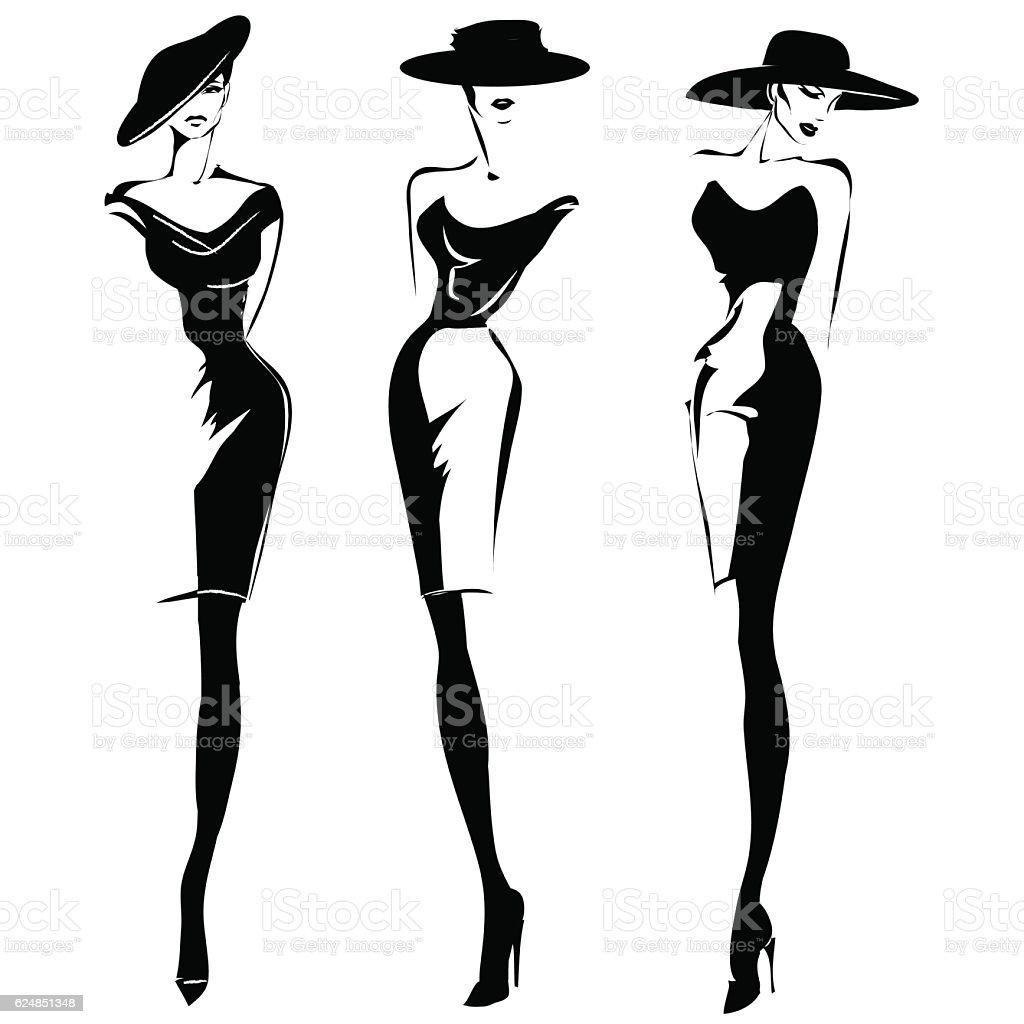 Black and white retro fashion models set in sketch style vector art illustration