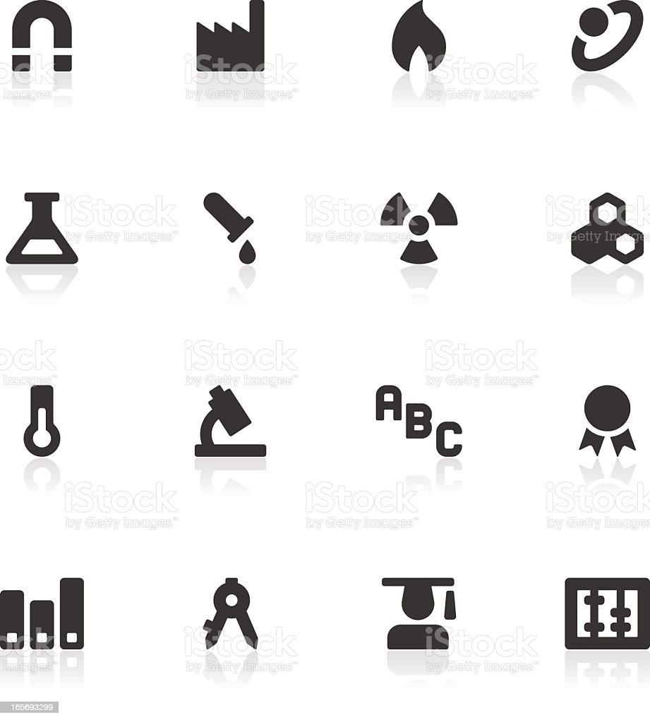 Black and white science and education icons royalty-free stock vector art
