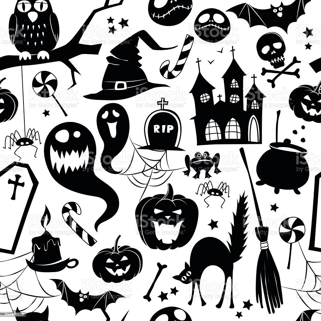 Black and white seamless background abstract pattern for halloween vector art illustration