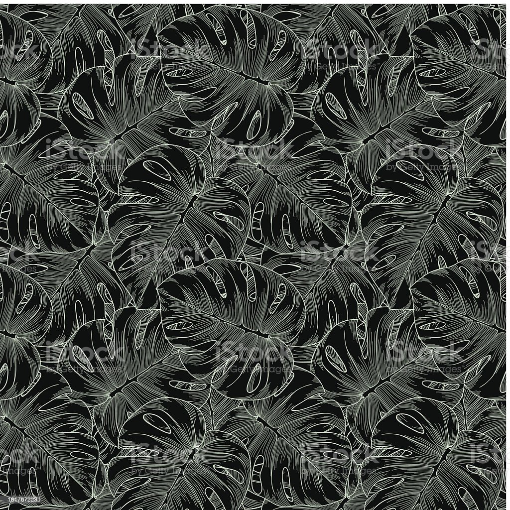 black and white seamless background. Monstera leaves of palm trees. royalty-free stock vector art